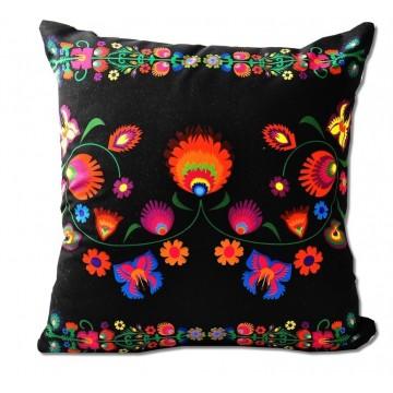 Poduszka ludowe kwiatki czarna
