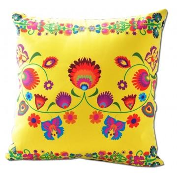 Poduszka ludowe kwiatki żółta