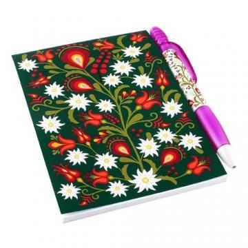 Zestaw notes kwiaty podhalańskie zieleń