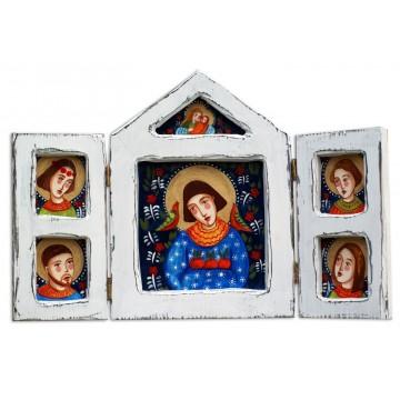 Tryptyk - ludowa na drewnie malowana kapliczka z wyobrażeniem Sw franciszka