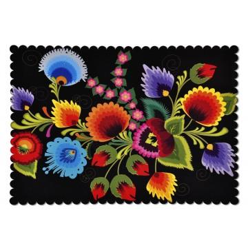 Podkładka czarna kwiaty ludowe