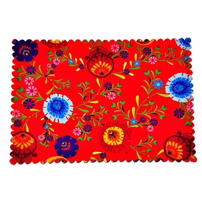 Podkładka czerwona kwiaty ludowe