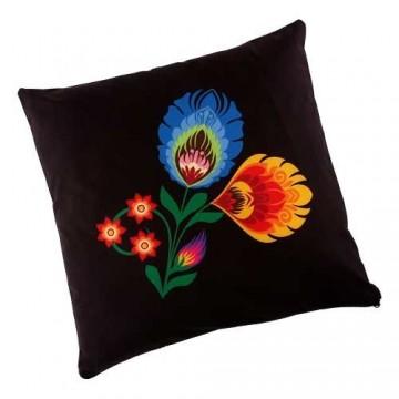 Dwustronna poduszka czarna kwiaty
