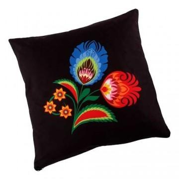 Dwustronna poduszka czarna kwiaty 2