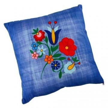 Dwustronna poduszka kaszuby błękit