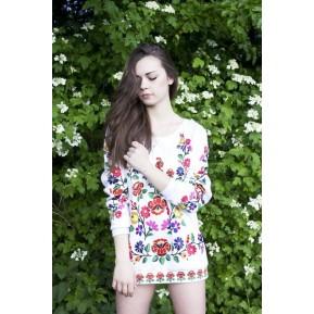 Folkowa bluza biała róże
