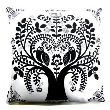Folk poduszka biała sowy w kwiatach