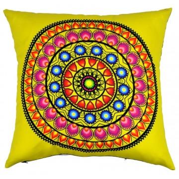 Folk poduszka żółta wycinanka