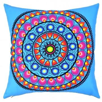 Folk poduszka niebieska wycinanka