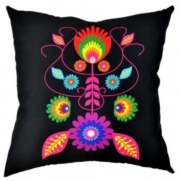 Folk poduszka kwiaty mix czarna