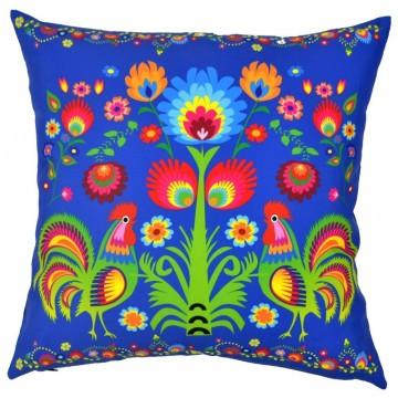 Folk poduszka błękit kwiaty mix