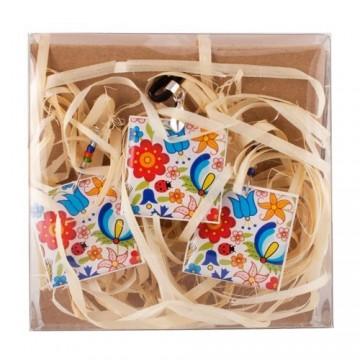 Komplet biżuterii kaszubskie kwiaty biale