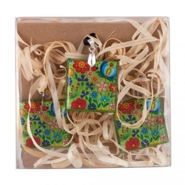 Kaszubski naszyjnik i kolczyki zielone kwadrat