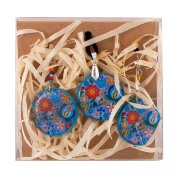 Kaszubski naszyjnik i kolczyki niebieskie owal