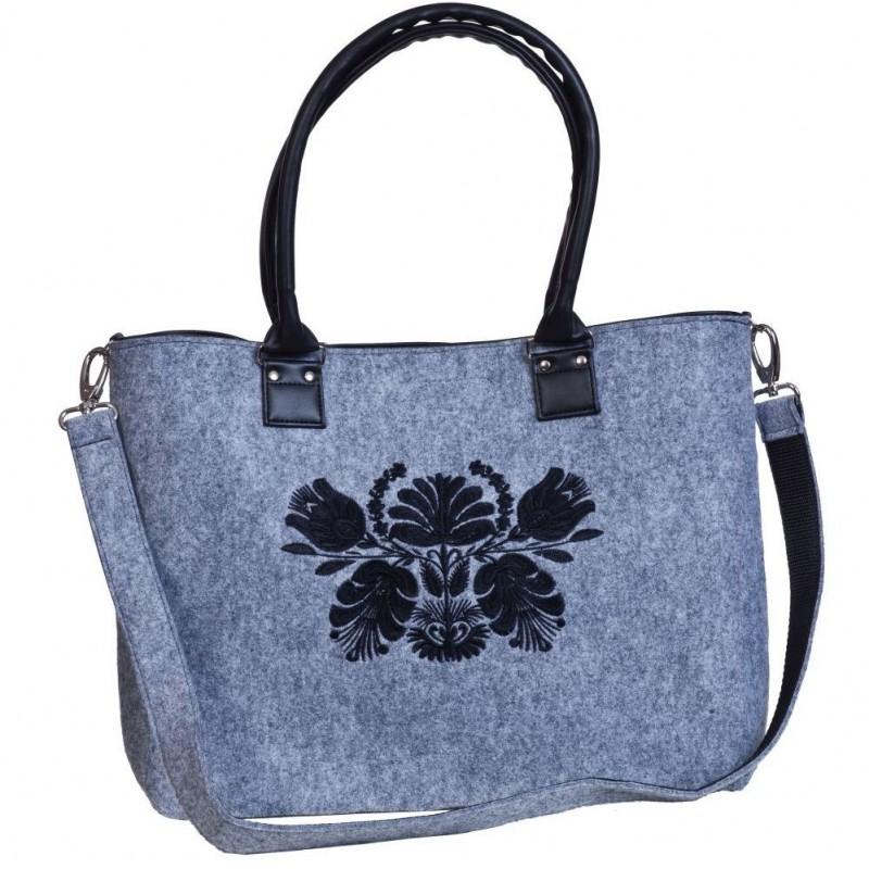 Filcowa torba haft kwiaty czarne