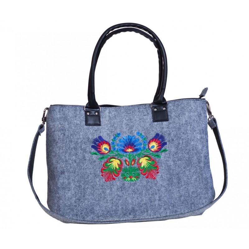 Filcowa torba haft kwiaty łowickie