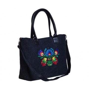 Filcowa torba haft kwiaty łowickie grafit