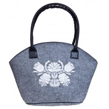 Filcowa torba koszyk z haftem czarne kwiaty