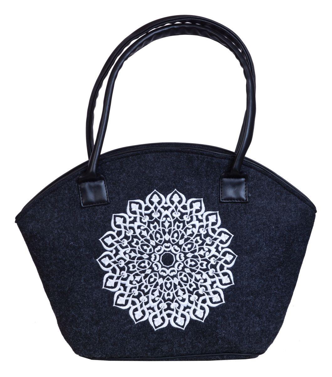 d6aee7ffa29f2 Filcowa torba koszyk z haftem wycinanka biała ...