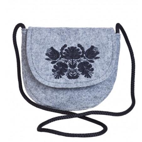 Filcowa torebka podkowa czarny haft