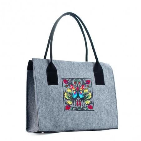 Filcowa torba biznesowa koguty jasna