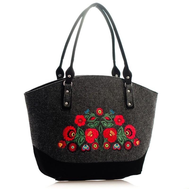 Filcowa torba kwiaty łowicz