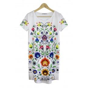 Sukienka biała colourfolk
