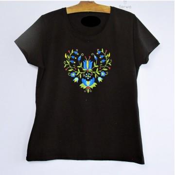 Malowana koszulka kaszuby czarna