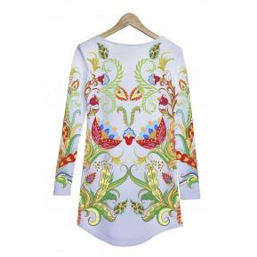 Sukienka biała folk ornament