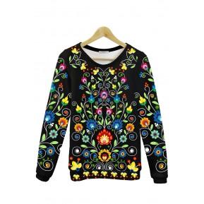 Folk bluza kwiatowy ornament czarna