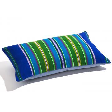 Poduszka pasiak zieleń z niebieskim