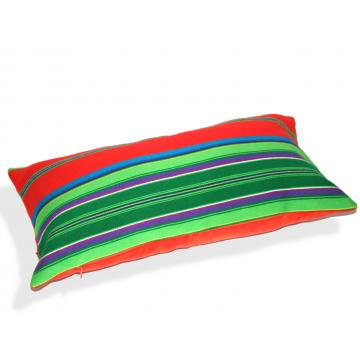 Poduszka pasiak zieleń z czerwienią