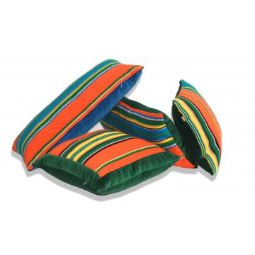 Poduszka pomarańczowo-zielony pasiak