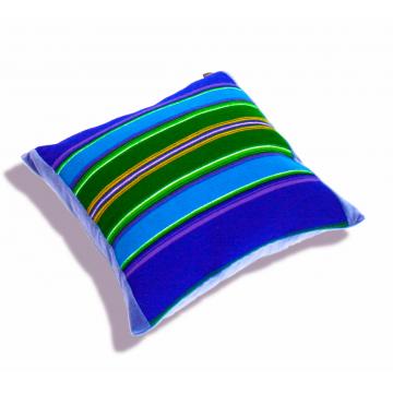 Poduszka folk niebieski pasiak