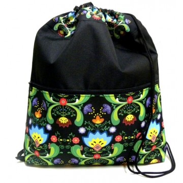 Folk plecak - worek kwiaty ornament