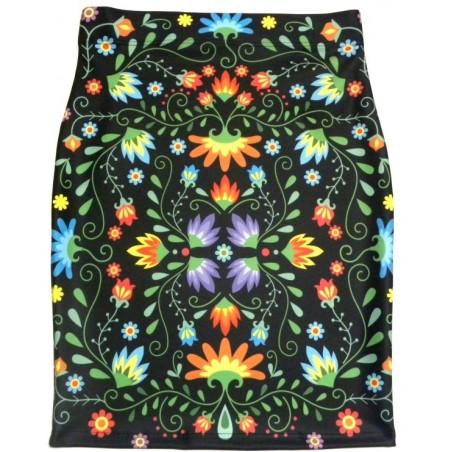 Spódnica ołówkowa kwiaty folk
