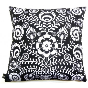 Folk poduszka czarna kwiaty