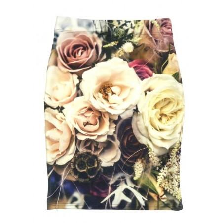 Folk spódnica róże beże