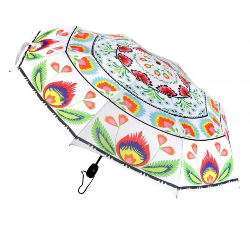 Folkowy biały parasol w łowickie kwiaty