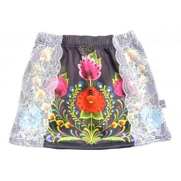 Spódnica dziecięca kwiaty czarna