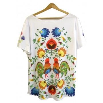 Folk t- shirt łowickie koguty
