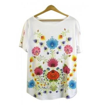 Folk t- shirt łowickie kwiaty