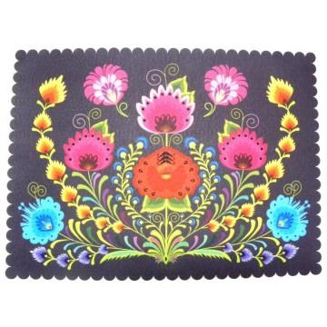 Filcowa podkładka czarna kwiaty ludowe