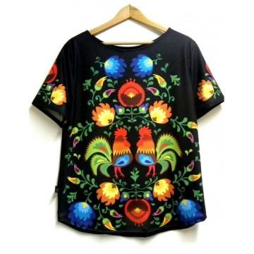 Folk t- shirt łowickie koguty czarny