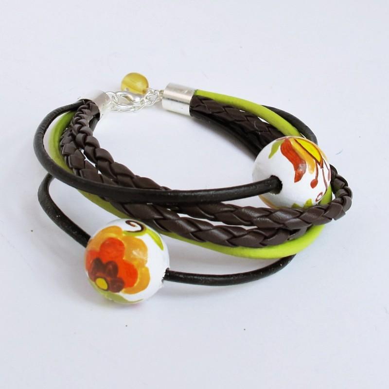 Bransoletka z rzemyków haft wdzydzki