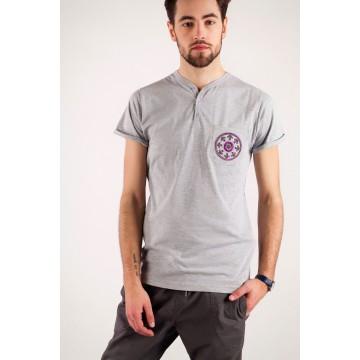 T-shirt szary haft kurpiowski