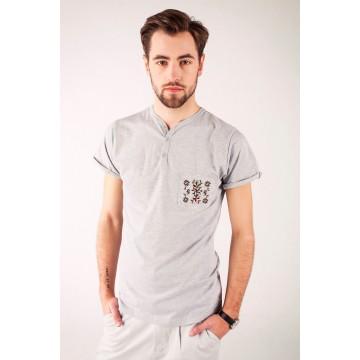 T-shirt szary haft krakowski