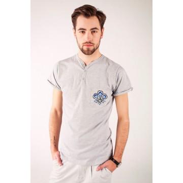 T-shirt szary haft góralski - Podhale