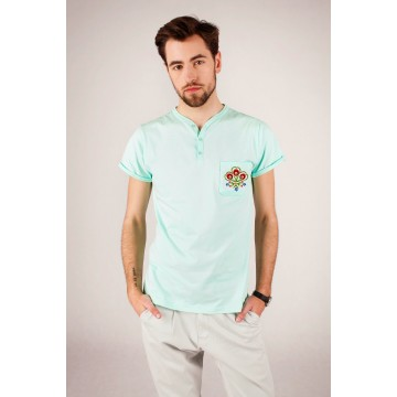 T-shirt mięta haft góralski - Podhale