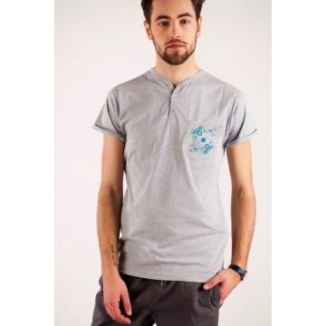T-shirt szary haft kaszubski